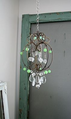 Petite green chandelier