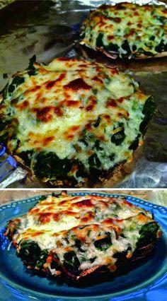 cheese, healthy, mushroom, pizza, portobello, recipes, spicy, spinach, vegan