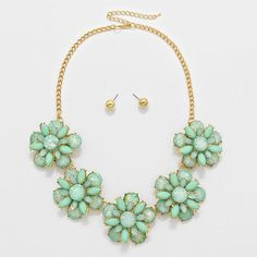 Statement Necklace, Bib Necklace, Double flower beaded Necklace, Mint necklace, gift for her.