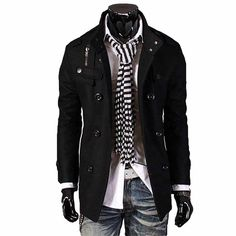 My husband could so rock this... minus that weird scarf thing. :) men's fashion and style-The Citizen Black