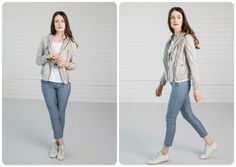 NILE - Primavera 2017 - Sport Outfit. Light Short Mild Grey coat with Blue jeans and Printed White top. #lookbookoutfits #lookbookfashion #lookbookphotoshoots