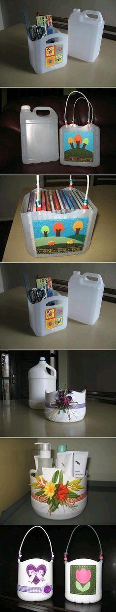 #Reciclaje. Cómo hacer cajas para guardar juguetes y otros objetos con garrafas de agua. #tiempolibre