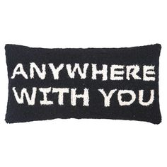 Hand-hooked wool pillow with block lettering.      Product: PillowConstruction Material: Wool cover and polyester fil...