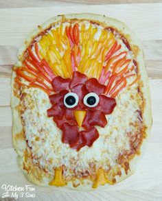 Pillsbury Turkey Pizza...a fun Thanksgiving pizza that the kids can creative themselves!
