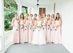 Nothing says romance like Bill Levkoff's Petal Pink chiffon! #bridesmaids #blush #chiffon