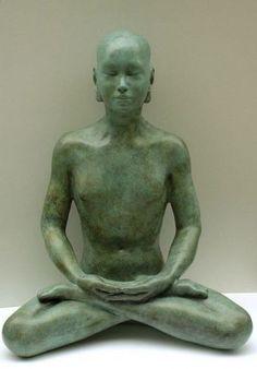 #Bronze #sculpture by #sculptor Laura Lian titled: 'Buddha Meditation in Bronze (Bronze sculpture sitting pose)'. #LauraLian