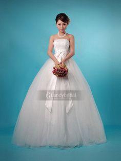 ウェディングドレス プリンセスライン かわいいサテンリボン チュール アイボリー H2lbjs0016