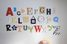 DIY alphabet for huge playroom wall. Check out letters at Hobby Lobby.