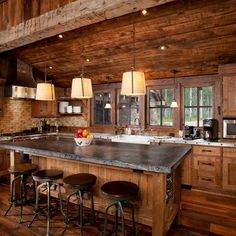Great kitchen, simple, lots of light. Traditional Kitchen log cabin Design Ideas, Pictures, Remodel and Decor. Log Cabin Living, Log Cabin Homes, Log Cabins, Rustic Cabins, Log Cabin Kitchens, Rustic Kitchens, Kitchen Rustic, Log Cabin Designs, Log Home Decorating