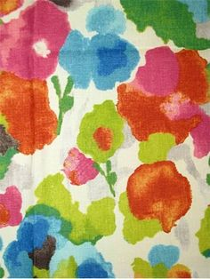 """Pattern Play Tutti Fruiti.  Watercolor print fabric from P. Kaufmann Textiles -100% linen multi purpose fabric for light use upholstery, drapery, pillow covers, top of the bed, chair cushions or any home décor decorating project. Repeat; V 25.25"""" x H 27"""". 54"""" wide. Unbranded soil and stain repellant finish."""