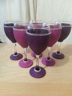 6 pink and purple glitter w glasses