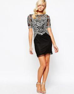 Frock And Frill Mesh Embellished Bodice Pencil Evening Dress Black UK 10/EU 38