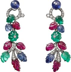 """CARTIER. """"Rajasthan"""" Earrings - platinum, melon cut emerald beads, sapphire beads, carved rubies, sapphires and emeralds, brilliant-cut diamonds. The earrings can be worn in two ways. #Cartier #CartierMagicien #HauteJoaillerie #FineJewelry #CarvedStones #TuttiFrutti #Emeralds #Rubies #Sapphires #Diamonds"""