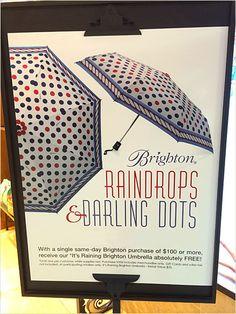 Raindrops and Darling Dots Umbrellas Main Rain Drops, Umbrellas, Close Up, Polka Dots, Display, Day, Frame, Billboard, A Frame