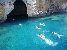 The Blue Cave between Antalya and Kalkan Turkey. Near Kaputas Beach.