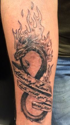 """Infinite Love! The text """"Always Love - Hate will get you everytime"""" is now on my arm!"""
