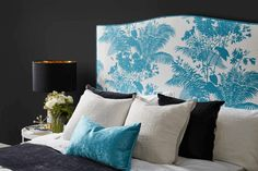 Fusing iconic Florence Broadhurst fabrics with highly-renowned Heatherly Design, elevating bedroom style through locally-made product. Florence Broadhurst, Blue Colour Palette, Art Series, Bedroom Styles, Textile Design, New Art, Bedroom Furniture, Upholstery, Tapestry
