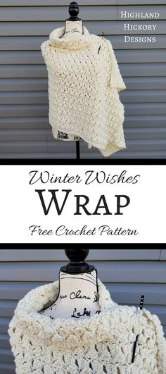Winter Wishes Wrap - free crochet pattern at Highland Hickory Designs