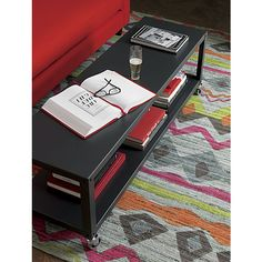 go-cart carbon grey two-shelf table-media cart in accent tables | CB2 (on sale $144)