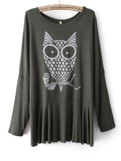 Green Long Sleeve Owl Print Pleated T-Shirt - Sheinside.com