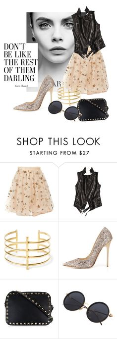 """""""thanks40K"""" by omahtawon ❤ liked on Polyvore featuring Valentino, Balmain, BauXo, Jimmy Choo and glamping"""