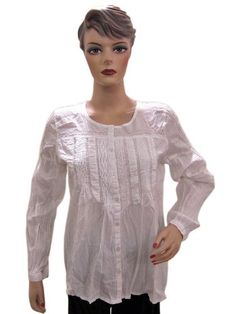 131b0e0bd13060 Bohemian Summer Wear Womens Clothing White Cotton Blouse Top Medium Size  Mogul Interior