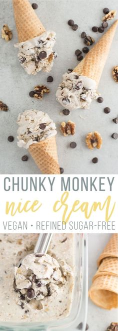 Non Dairy ice cream - Chunky Monkey Banana Nice Cream -- This vegan dessert is so easy to make and no churn required! Packed with chocolate chips, walnuts, and a smooth banana and coconut base, this dairy-free ice cream is the perfect sweet treat! Healthy Vegan Dessert, Coconut Dessert, Oreo Dessert, Vegan Dessert Recipes, Vegan Treats, Healthy Food, Vegan Icecream Recipe, Fruit Recipes, Vegan Gelato