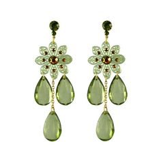 TARINA TARANTINO Lucite Flower Chandelier Earrings (195 BRL) ❤ liked on Polyvore featuring jewelry, earrings, brincos, chandelier earrings, dangle chandelier earrings, long dangle earrings, chain earrings and long earrings