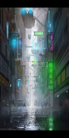 Cyberpunk sketch by TheFearMaster on DeviantArt Cyberpunk City, Futuristic City, Cyberpunk 2077, Science Fiction Art, Science Art, Fantasy Landscape, Fantasy Art, Drones, Sci Fi Environment