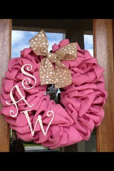 Pink Burlap Monogram Wreath ~ Perfect for baby shower gift, hospital door & nursery ~ by Frontdoorshowcase on Etsy