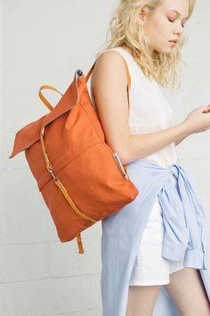 SALE 50% OFF Orange cotton minimalist backpack bag by genreDenis