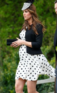 polka dot dress, black blazer, black and white fascinator