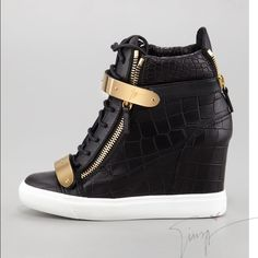 Giuseppe Zanotti Black Leather Wedge Sneakers 37 Authentic Women Giuseppe Zanotti Design Black Wedge Heeled Fashion Sneakers. Croc Embossed Black Leather with Gold Tone Accents. Like new, worn once. Size 37. Comes with box. Giuseppe Zanotti Shoes Sneakers