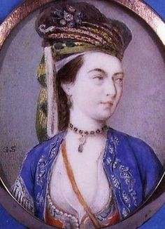 Lady Mary Wortley Montagu (detail of miniature portrait), by Gervace Spencer