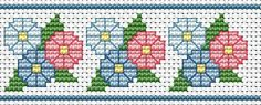"""""""Beginner's Motif"""" - Stitched Preview of Border. Would also make a cute gift tag. Super site if you're just learning or want to teach kids how to cross stitch."""