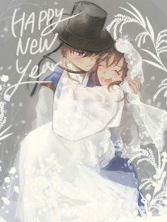 Kaito feels shy or happy Conan Comics, Detektif Conan, Old Anime, Manga Anime, Detective Conan Ran, Kaito Kuroba, Anime Wedding, Kimi Ni Todoke, Kudo Shinichi