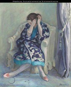 Femme A Sa Coiffure Assise Dans Un Fauteuil - Henri Lebasque