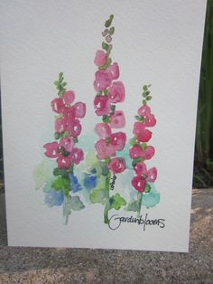 Old Fashioned Hollyhocks Watercolor card by gardenblooms on Etsy