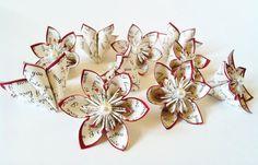 I Love You paper flowers- Set of 10, handmade, wedding, favor, origami, bouquet, decoration