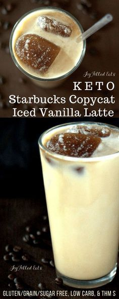 The BEST Keto Starbucks Copycat Latte - Sugar Free Vanilla Frappuccino Low Carb THM S - Make one simple base recipe and use it in minutes to whip up your favorite sweet summer coffee drinks!