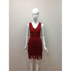 Herve Leger Red V-neck Strips Bandage Dress H548SLR