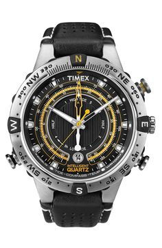 Free shipping and returns on Timex® 'Intelligent Quartz' Compass Watch at Nordstrom.com. A tide temperature gauge, built-in compass and high water resistance equip you to weather the ocean with a rugged watch encased in textured steel. A perforated leather strap makes a cool, comfortable finish.
