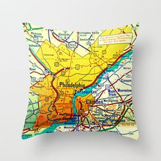 Philadelphia Map Pillow  Philly Pilly   by VintageBeachMaps, $38.00