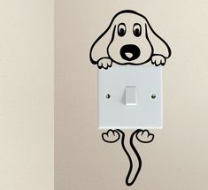 Cute Dog Cartoon Doggy Puppy Baby Pet light switch funny vinyl Love Heart decor funny wall art decal stickers Baseboard Kids - New Deko Sites Heart Decorations, Room Decorations, Framed Wall Art, Wall Decals, Kids Wall Stickers, Painted Wall Art, Wall Stickers Home Decor, Vinyl Decals, Cute Dog Cartoon