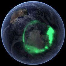 Aurora australis (11 September 2005) as captured by NASA's IMAGE satellite, digitally overlaid onto The Blue Marble composite image.