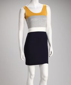 Yellow & Black Color Block Dress