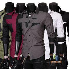 Mens Casual Dress Shirts Top Hombres Camisa Camisetas Long Slim M L XL XXL XXXL   Ropa, calzado y complementos, Ropa de hombre, Camisas y polos   eBay!