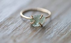 Raw Aquamarine Ring.  Raw Gemstone Ring. Rough by seabluestudio