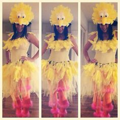 DIY Big Bird Halloween Costume by Anna Masteller You'll need: Baseball cap Yellow feathers White feathers Two foam balls A foam cone Large google eyes A yellow tank top A belt Yellow tulle Orange tights Pink feather boa Yellow felt  Old pair of sneakers  Hot glue gun  Sesame Street Dress Up!