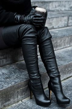 ~ thigh-high black leather boots. Ultimate wow factor~